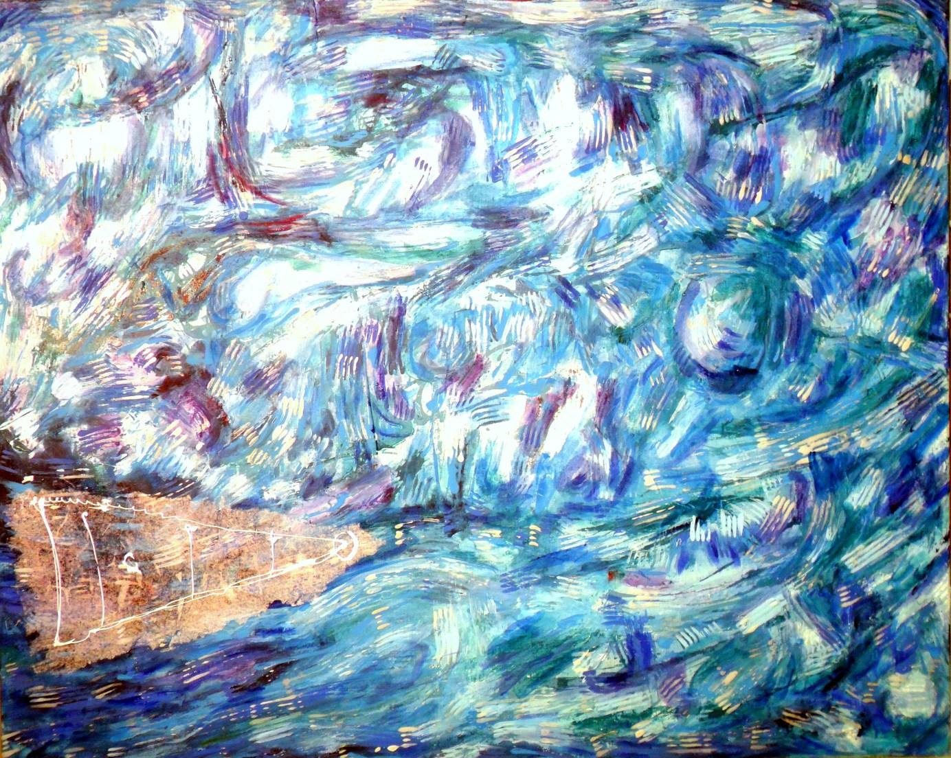 Diálogo de partículas antes de la creacion. Dialogo con el agua. 130 x 90 cm. Mixta sobre tela.02.05.2014